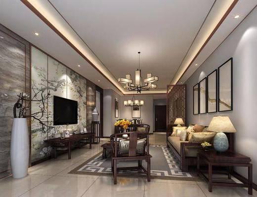 客厅, 多人沙发, 沙发茶几, 电视柜, 边几, 台灯, 吊灯, 装饰画, 挂画, 茶几, 单人椅, 摆件, 陈设品, 装饰品, 中式