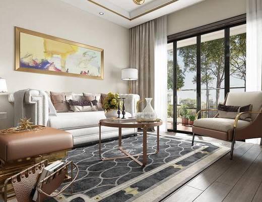 沙发组合, 茶几, 单椅, 电视柜, 餐桌, 边几, 台灯