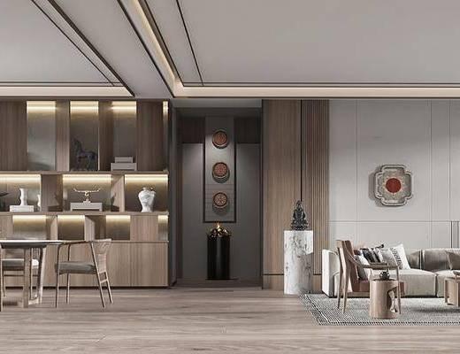 新中式风格客厅餐厅