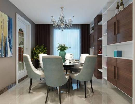 现代客餐厅, 现代沙发组合, 餐桌椅组合, 欧式水晶吊灯, 玄关, 过道