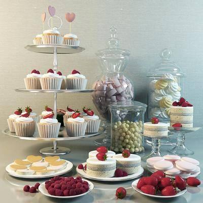 蛋糕, 面包, 水果, 食物组合, 透明罐, 盘子, 现代