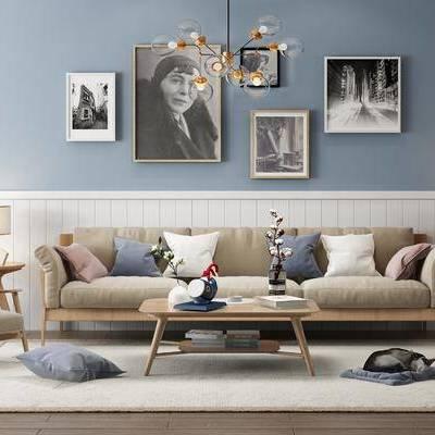 多人沙发, 布艺沙发, 单人椅, 单人沙发, 茶几, 边几, 摆件, 台灯, 沙发榻, 装饰画, 吊灯, 北欧