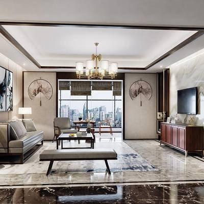 新中式, 新中式客厅, 客厅, 沙发组合, 金属吊灯, 装饰画, 电视柜