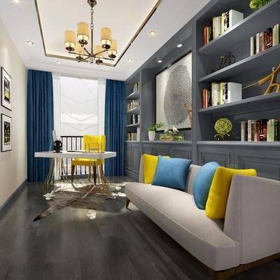 书房, 装饰柜, 多人沙发, 书桌, 单人沙发, 装饰画, 挂画, 吊灯, 书籍, 后现代