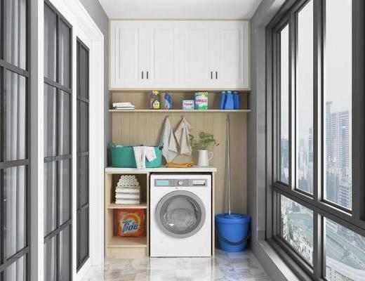 洗衣机, 阳台