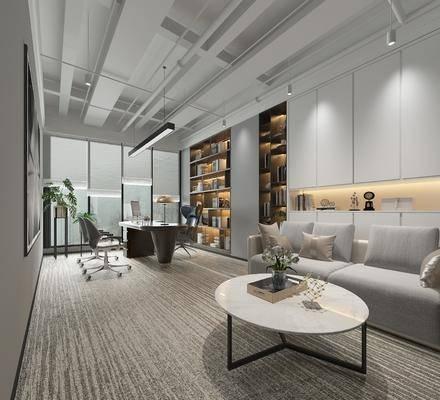 办公桌椅组合, 办公室, 沙发组合, 茶几, 吊灯