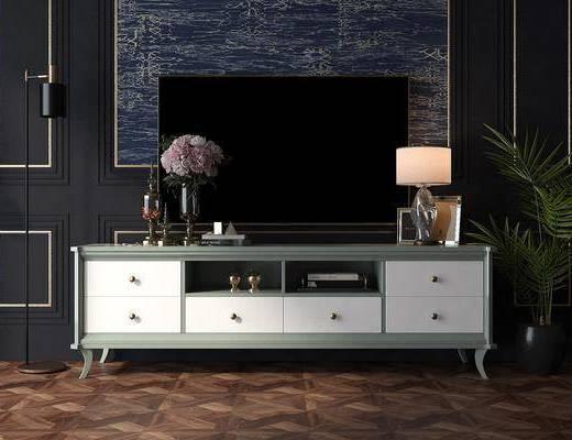电视柜, 边柜, 盆栽, 绿植植物, 台灯, 摆件, 装饰品, 陈设品, 法式