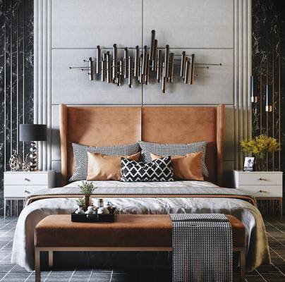雙人床組合, 床具組合, 擺件組合, 墻飾, 現代輕奢
