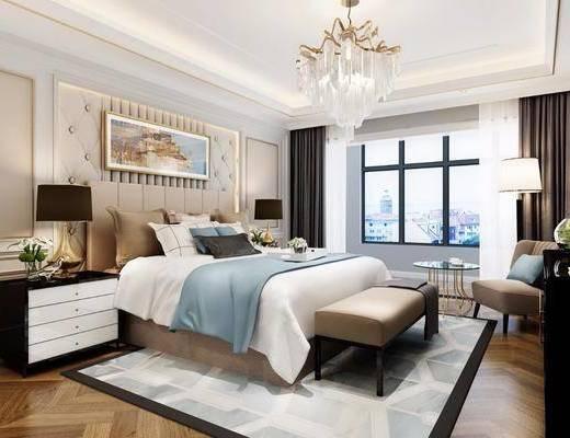 卧室, 双人床, 床头柜, 台灯, 装饰画, 挂画, 床尾凳, 单人沙发, 落地灯, 吊灯, 水晶台灯, 欧式