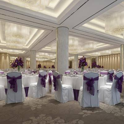宴会厅, 餐桌, 餐椅, 吊灯, 摆件, 壁灯, 简欧