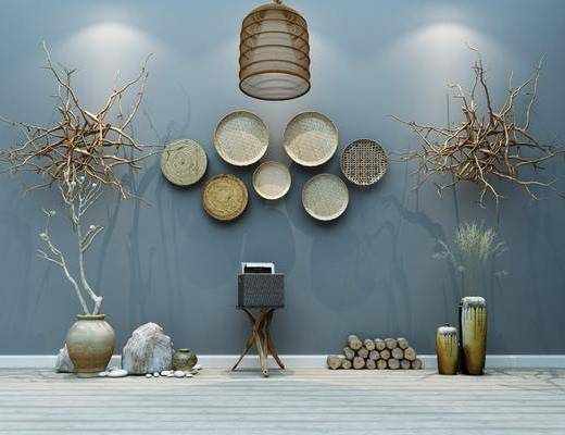 农具, 摆件组合, 装饰品, 墙饰, 干枝组合, 干树枝, 吊灯, 中式