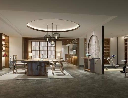 茶室, 茶桌, 单人椅, 吊灯, 单人沙发, 装饰柜, 摆件, 装饰品, 陈设品, 健身器材, 新中式