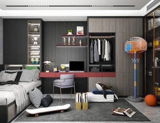 现代卧室, 榻榻米, 衣柜