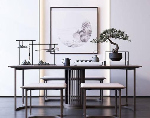 盆栽, 植物, 摆件组合, 文房四宝, 装饰画