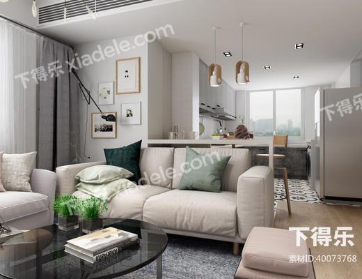 现代简约, 沙发茶几组合, 客厅, 吊灯, 陈设品组合