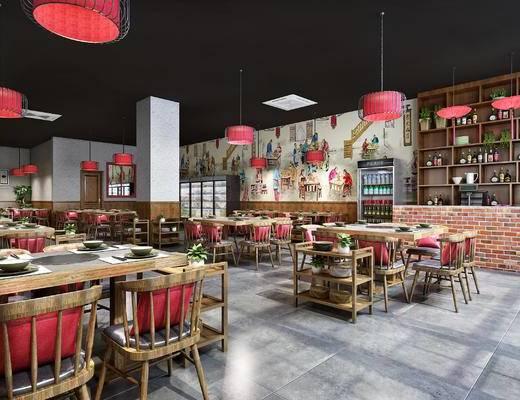 新中式大排档烤肉店, 单椅, 冰柜, 餐桌, 吧台, 酒具, 菜架, 吊灯, 烤肉店, 大排档