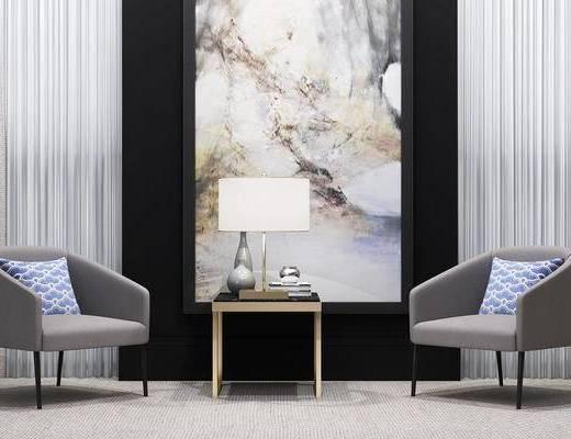 现代, 单椅, 休闲椅, 椅子, 边几, 台灯, 陈设品, 装饰画, 挂画