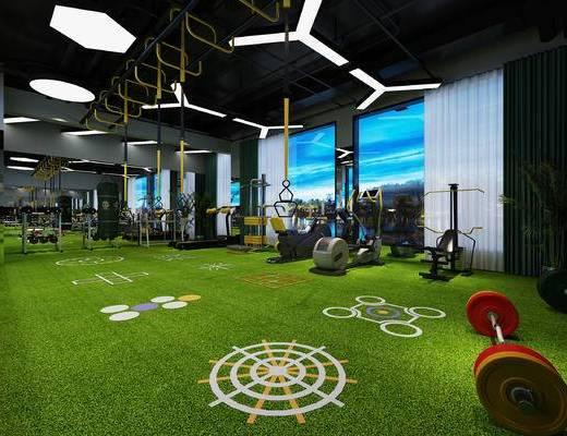 私教区, 健身区, 运动器械, 吊灯
