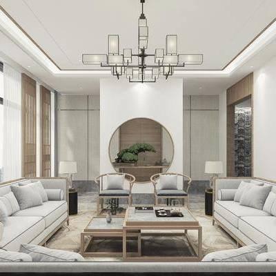 會客廳, 新中式會客廳, 沙發組合, 茶幾, 擺件組合