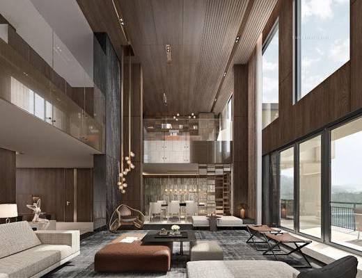 沙发组合, 吊灯, 茶几, 单椅, 楼梯