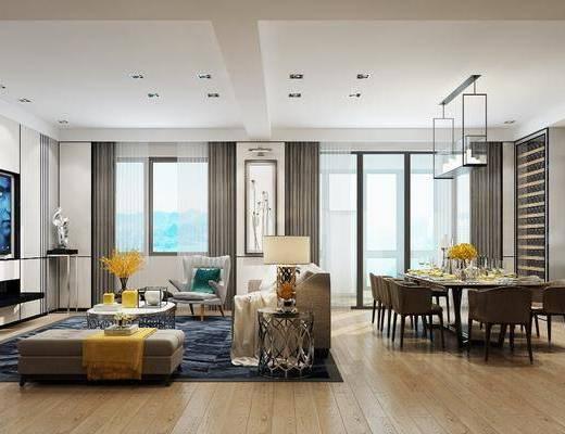 客厅, 现代, 客餐厅, 沙发组合, 沙发茶几组合, 餐桌椅, 桌椅组合, 吊灯, 电视柜, 地毯