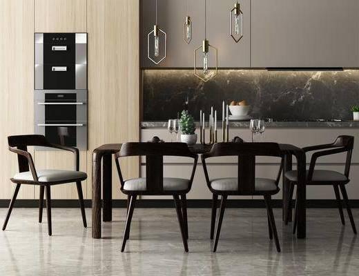桌椅组合, 餐桌椅, 餐桌, 餐椅, 单人椅, 橱柜, 吊灯, 摆件, 装饰品, 陈设品, 现代