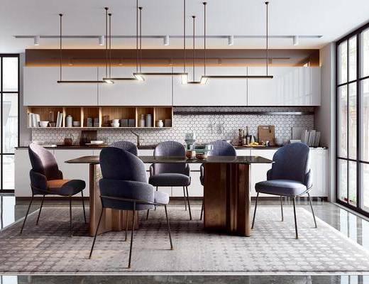 餐桌, 桌椅组合, 吊灯, 橱柜组合