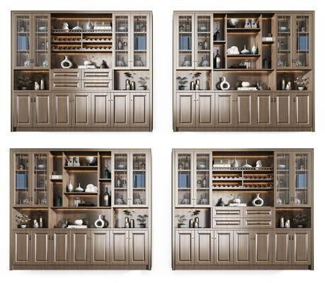 酒柜組合, 裝飾柜組合, 酒瓶組合, 擺件組合, 新中式
