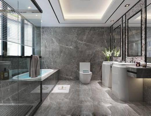卫生间, 浴缸, 洗手台, 装饰镜, 马桶, 花瓶花卉, 洗浴用品, 现代