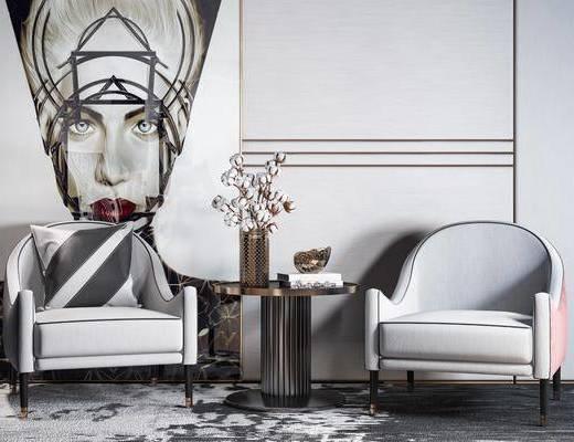 单椅, 茶几, 装饰画, 摆件组合, 休闲椅