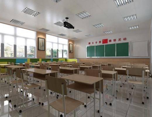 现代教室, 教室, 书桌椅