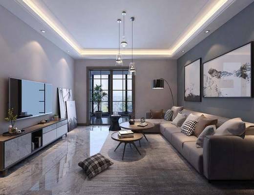客厅, 现代客厅, 沙发组合, 落地灯, 吊灯, 装饰画, 电视柜, 摆件, 茶几, 现代
