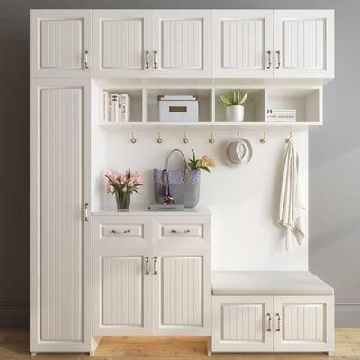 美式田园鞋柜, 美式鞋柜, 白色鞋柜, 装饰盆栽, 衣服, 挂钩