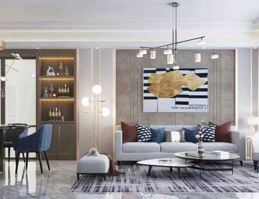 沙發組合, 茶幾, 吊燈, 裝飾畫, 餐桌, 桌椅組合, 單椅