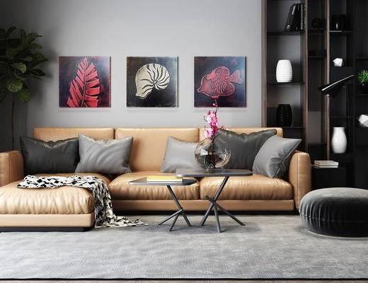 沙发组合, 装饰画, 书柜, 茶几