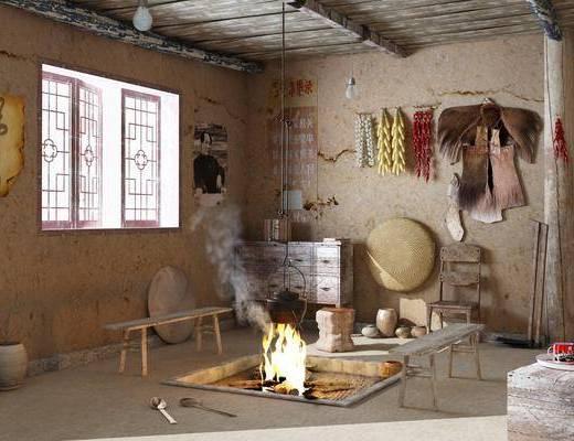 名宿, 边柜, 墙饰, 水壶, 雕花窗户