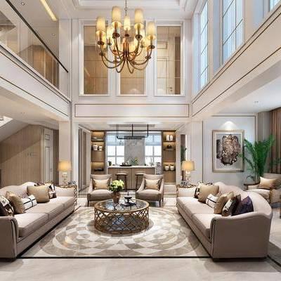 客厅, 多人沙发, 单人沙发, 布艺沙发, 茶几, 台灯, 吊灯, 吧台, 吧椅, 边柜, 餐桌, 餐椅, 摆件, 现代