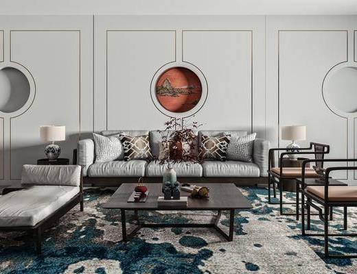 沙发, 单人椅, 茶几, 边几, 台灯, 饰品摆件, 挂画