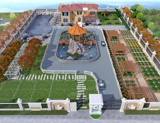 3dmax模型, 园林规划, 别墅, 庄园, 景观, 园林