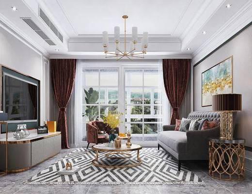 沙发组合, 茶几, 摆件组合, 吊灯, 电视柜, 餐桌, 酒柜