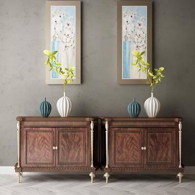 边柜, 花瓶, 柜架组合, 装饰画