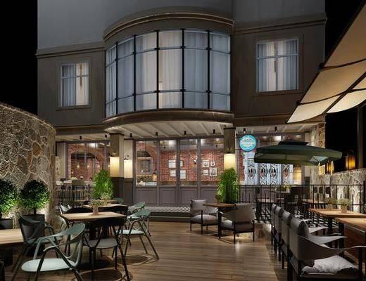 露天酒吧, 餐桌, 餐椅, 单人椅, 盆栽, 绿植, 植物, 门面门头, 户外椅, 户外桌, 工业风