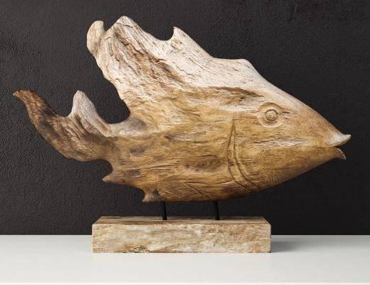 雕塑, 鱼, 摆件, 木, 现代