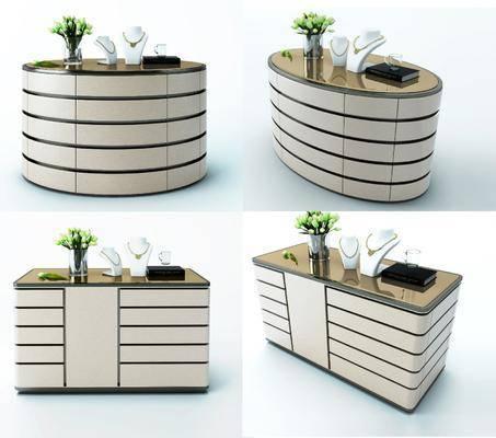 装饰柜, 中岛柜, 现代中岛柜, 摆件, 花瓶花卉, 现代