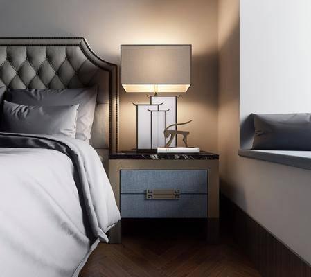 双人床, 床头柜, 台灯