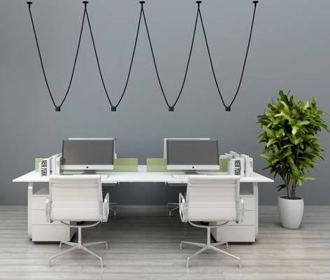 办公室, 办公桌, 摆件, 单人椅, 绿植, 现代
