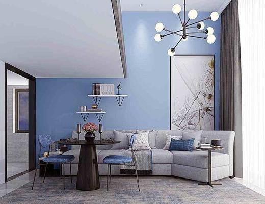 沙发组合, 多人沙发, 茶几, 装饰画, 挂画, 吊灯, 单人椅, 摆件, 装饰品, 陈设品, 现代