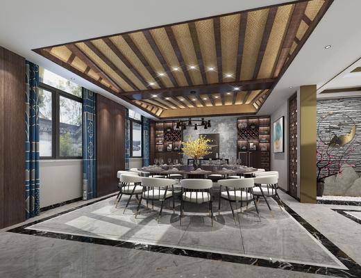 中式餐厅, 新中式餐厅, 餐厅, 餐桌椅, 桌椅组合