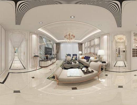 欧式客厅, 客厅, 沙发组合