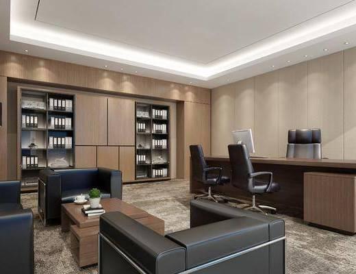 办公室, 经理室, 办公桌, 办公椅, 书柜, 书籍, 书本, 沙发, 单人沙发, 茶几, 植物, 盆栽, 落地灯, 电脑, 单椅, 现代